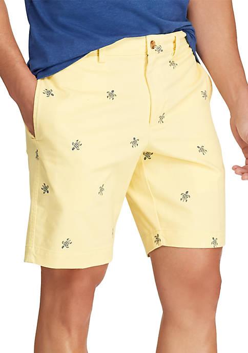 Flat Front Yellow Schiffli Turtle Shorts