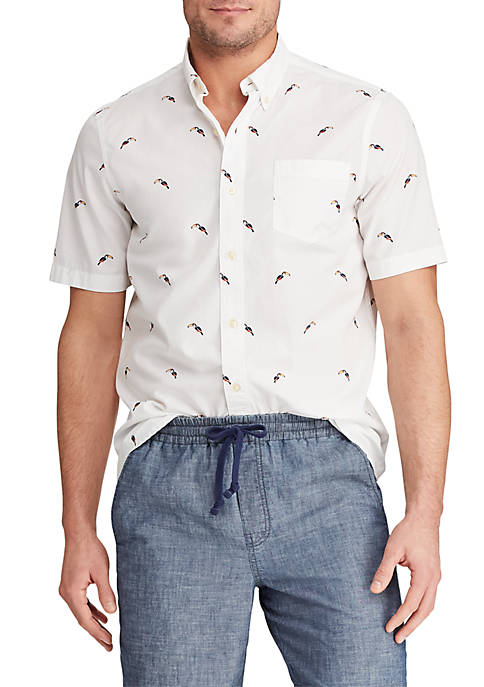 Chaps Printed Cotton Short Sleeve Shirt