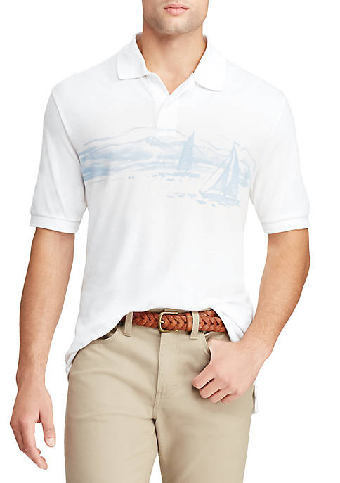 Chaps Sailboat Print Mesh Polo Shirt