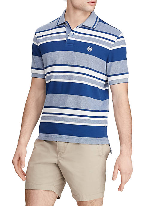 Chaps Short Sleeve Royal Stripe Birdseye Polo