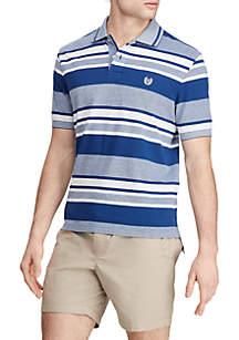 Chaps Short Sleeve Royal Stripe Birdseye Polo