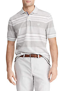 Chaps Short Sleeve Light Gray Heather Stripe Birdseye Polo