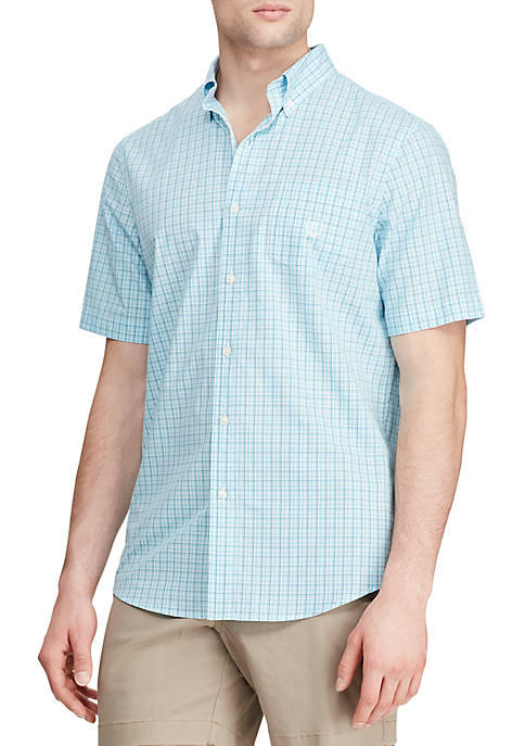 Chaps Short Sleeve Hammond Blue Mini Plaid Easy