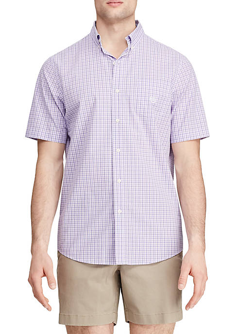 Short Sleeve Lavender Mini Plaid Easy Care Shirt