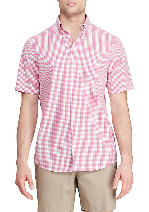 Short Sleeve Pink Mini Plaid Easy Care Shirt