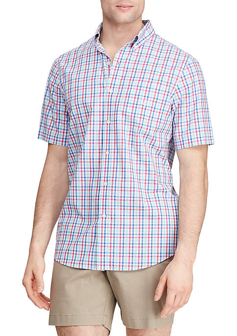 Chaps Short Sleeve Multi Gingham Easy Care Shirt
