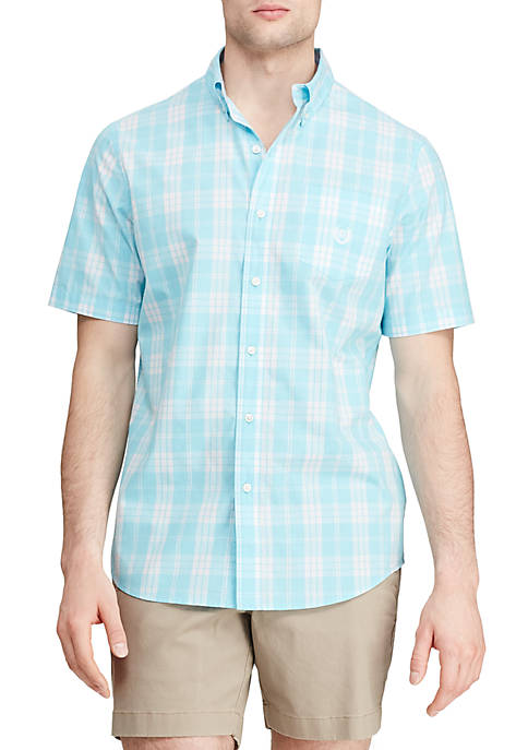Chaps Short Sleeve Hammond Blue Plaid Easy Care
