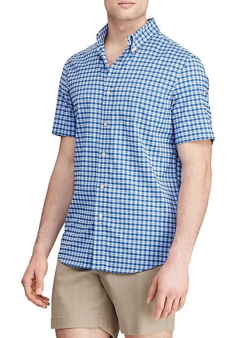 Greenwich Blue Short Sleeve Performance Woven Shirt