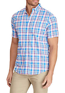 Chaps Colby Blue Short Sleeve Performance Woven Shirt