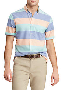 Chaps Slim Fit Short Sleeve Easy Care Button Down Shirt