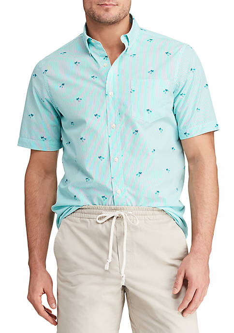 Chaps Printed Cotton-Blend Short Sleeve Shirt