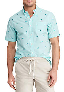 Chaps Printed Cotton-Blend Short Sleeve Shirt