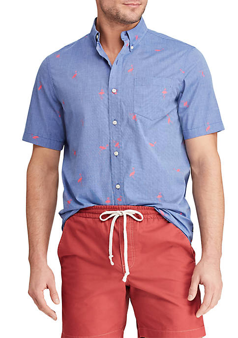 Chaps Slim Fit Printed Cotton-Blend Short Sleeve Shirt
