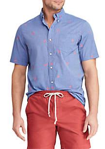Chaps Slim Fit Printed Cotton-Blend Short Sleeve Shirt