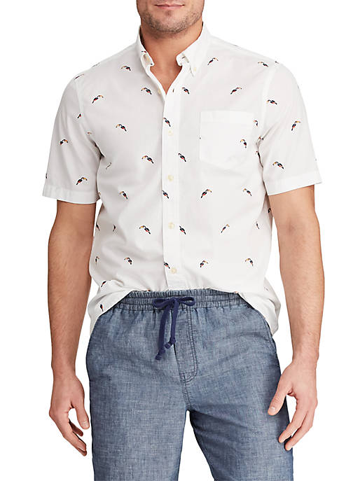 Chaps Slim Fit Printed Cotton Blend Short Sleeve