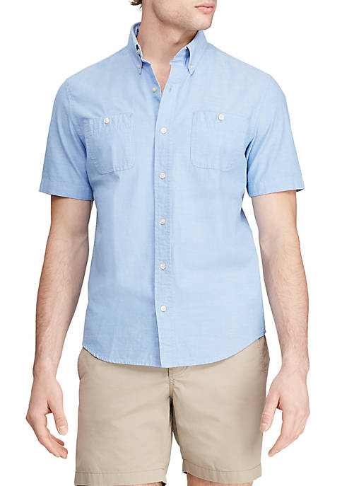 Chaps Untucked Short Sleeve Chambray Button Down Shirt