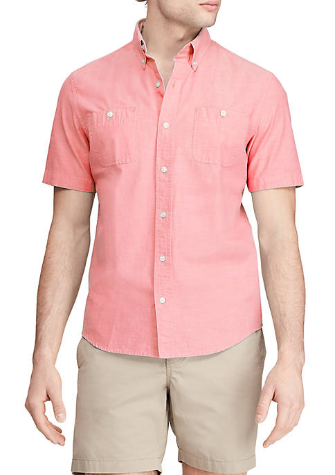Chaps Pink Chambray Short Sleeve Shirt