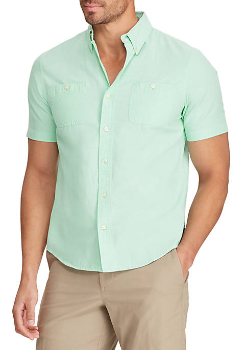 Chaps Green Chambray Short Sleeve Shirt