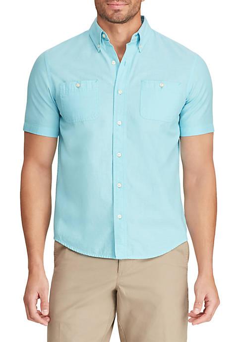 Chaps Hammond Blue Chambray Short Sleeve Shirt