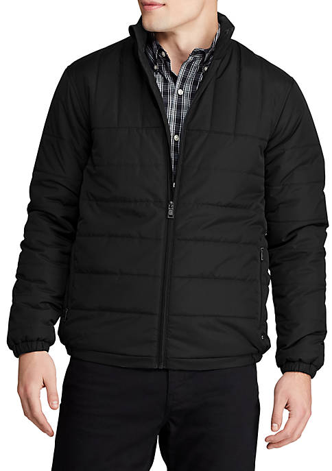 Chaps Mens Packable Quilted Mock Neck Jacket