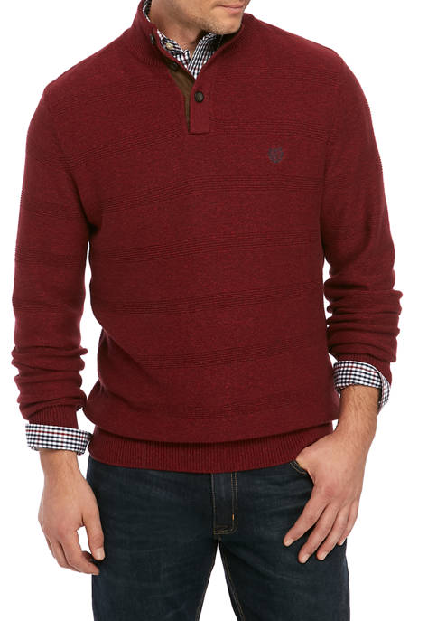Mens Twist Button Mock Neck Pullover