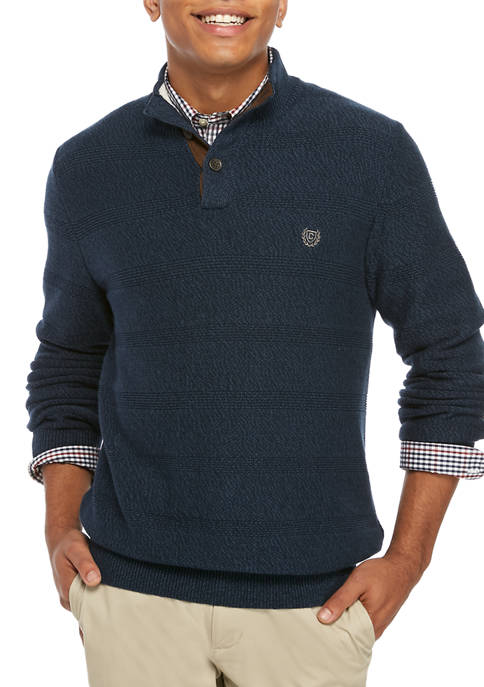 Mens Twist Button Mock Neck Sweater