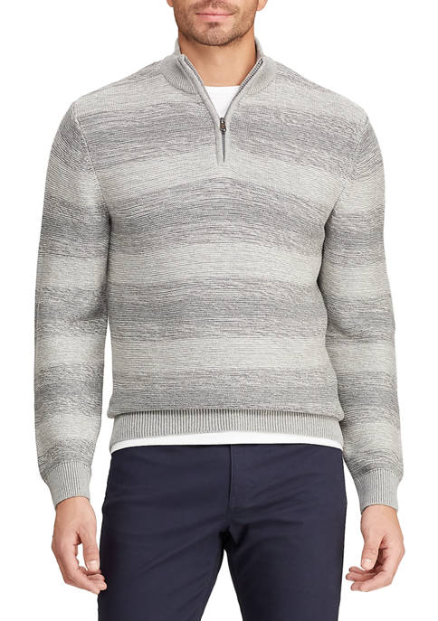 Chaps Mens Striped Mock Neck 1/4 Zip Sweater