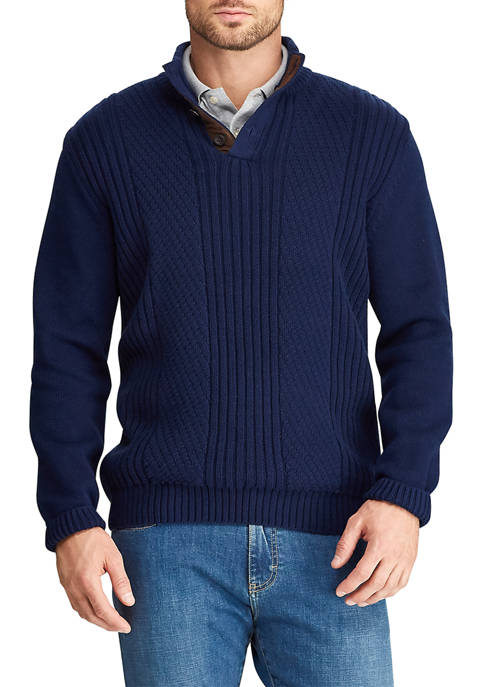 Chaps Mens Elbow Patch Mock Neck Sweater