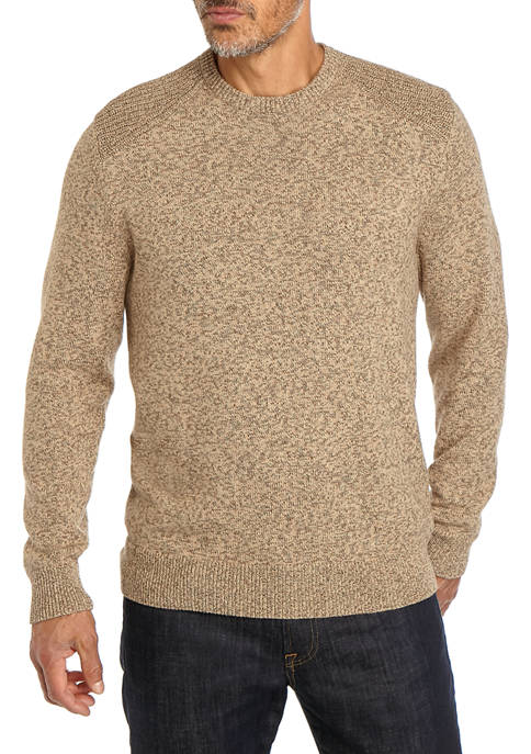 Textured Camel Crew Neck Pullover