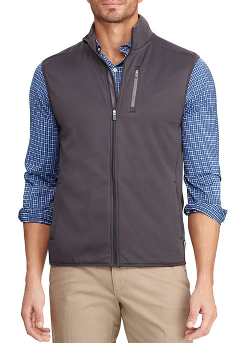 Chaps Mens Water Resistant Fleece Mock Neck Vest