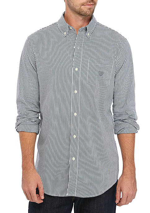 Chaps Long Sleeve Easy Care Pine Stripe Shirt