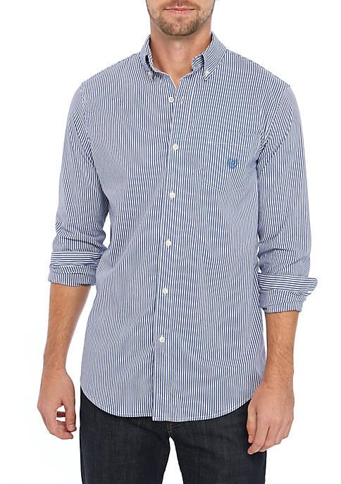 Chaps Long Sleeve Easy Care Royal Stripe Shirt
