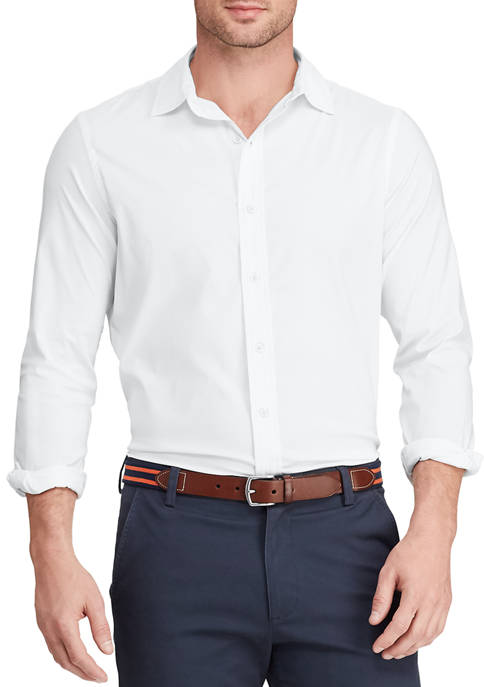 Mens Woven Solid White Button Up Shirt