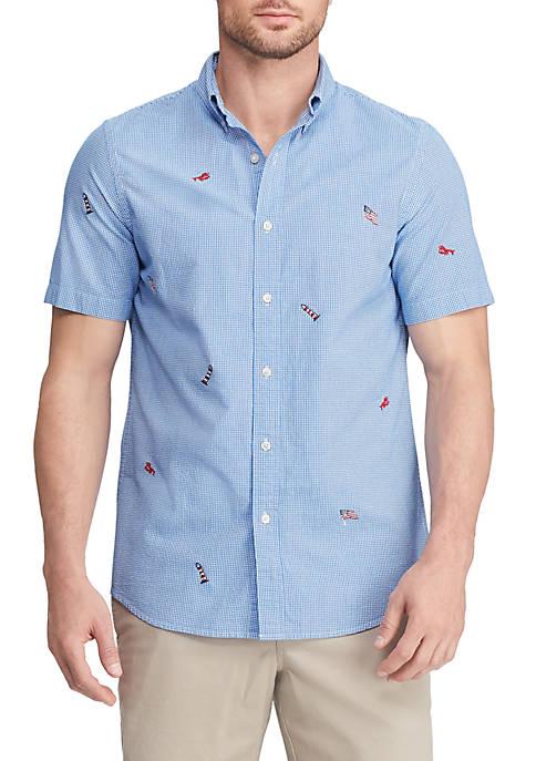 Chaps Printed Cotton Blend Short Sleeve Shirt