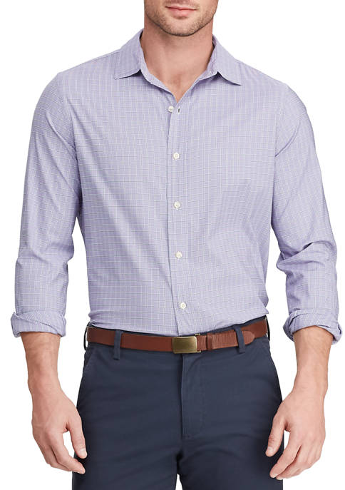 Mens Performance Woven Purple Plaid Shirt