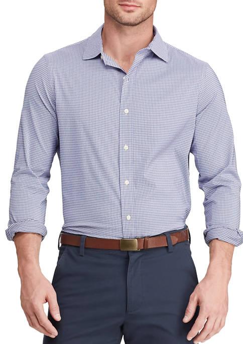 Chaps Mens Performance Woven Purple Plaid Shirt