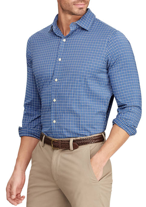 Mens Woven Blue Plaid Shirt