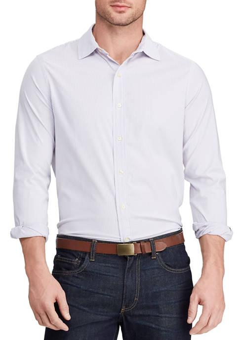 Chaps Mens Performance Woven Purple Striped Shirt