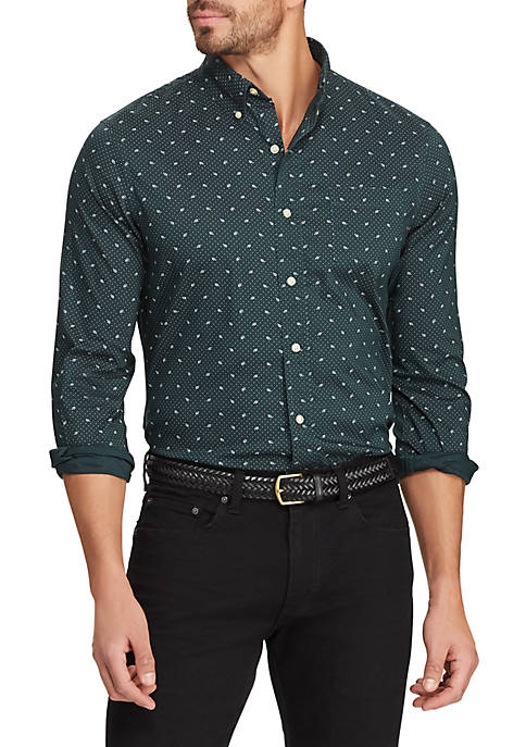 Mens Easy Care Long Sleeve Printed Shirt