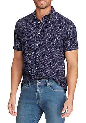 edcd550381 Chaps Printed Cotton Blend Short Sleeve Shirt ...