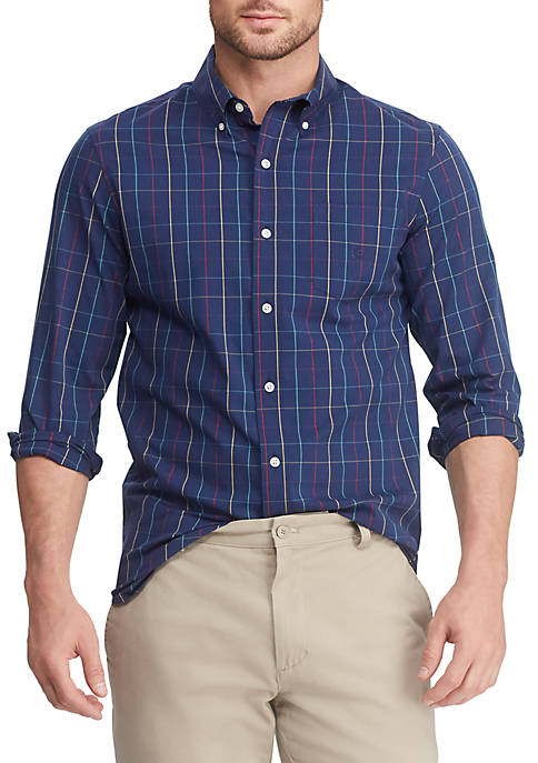 Chaps Mens Easy Care Long Sleeve Plaid Shirt