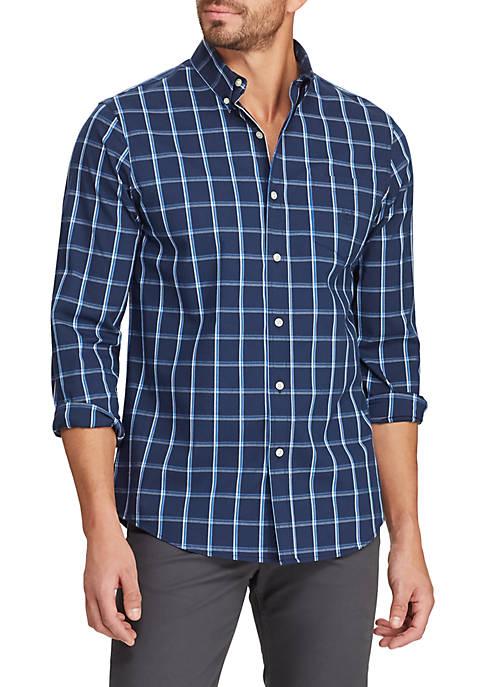 Chaps Mens Easy Care Long Sleeve Plaid Shirt
