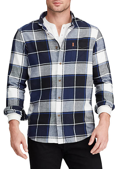 Chaps Mens Plaid Flannel Long Sleeve Shirt
