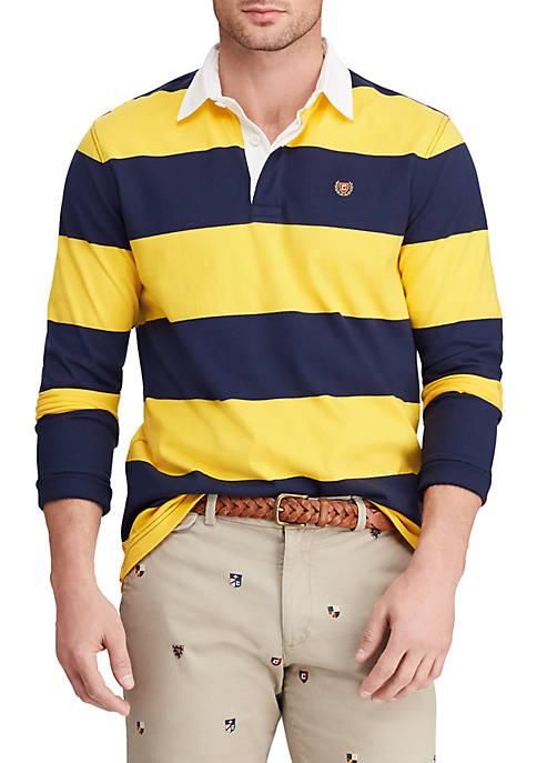 Chaps Mens Long Sleeve Stripe Rugby Shirt
