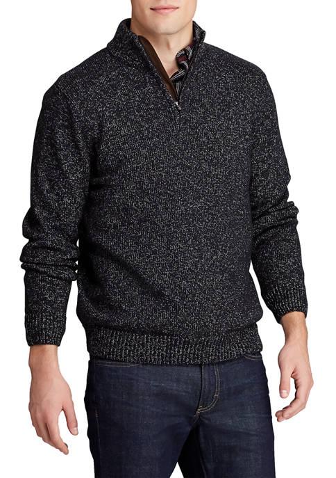 Chaps Mens 1/4 Zip Mock Neck Sweater