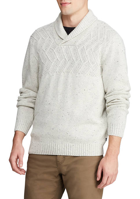 Mens Shawl Neck Donegal Sweater
