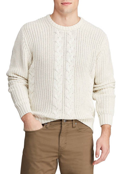 Chaps Mens Crew Neck Fisherman Sweater