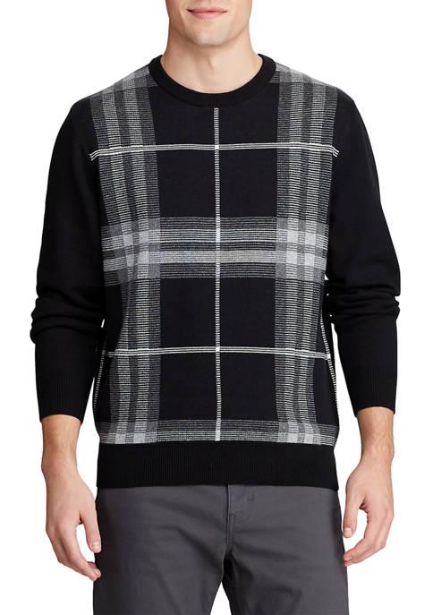 Chaps Mens Crew Neck Plaid Sweater