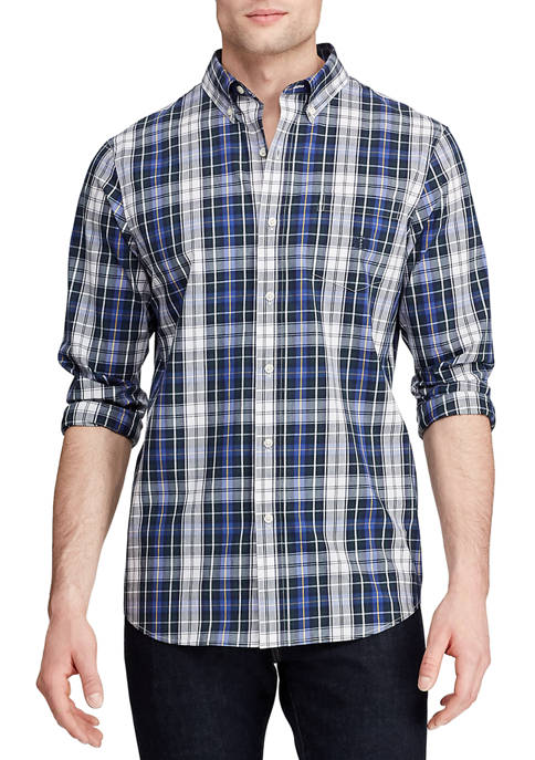 Mens Lead Table Long Sleeve Easy Care Pine Multi Shirt