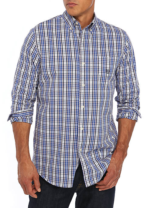 Chaps Long Sleeve Easy Care Ultramarine Plaid Shirt